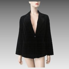Black Velvet Jacket Vintage 1970s Womens Tailored Blazer