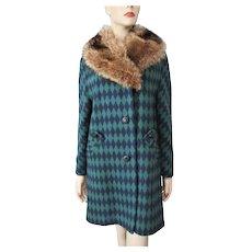 Hippie Penny Lane Womens Coat Vintage 1960s Fox Fur Collar Bold Diamond Wool Graphic Print Retro Boho Bohemian - Red Tag Sale Item