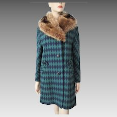 Hippie Penny Lane Womens Coat Vintage 1960s Fox Fur Collar Bold Diamond Wool Graphic Print Retro Boho Bohemian