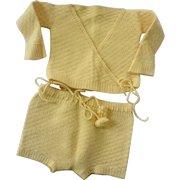 Yellow Knit Baby Set Vintage 1950s Wrap Around Sweater Pants Pom Poms Bows