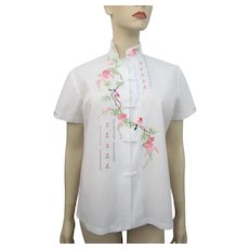 Womens Asian Blouse Vintage 1980s Chinese Hand Embroidered Flowers Floral Birds