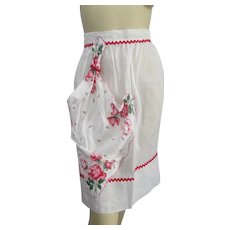 Kitchen Hostess Apron Vintage 1950s White Organza Floral Handkerchief Rick Rack