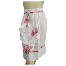Kitchen Hostess Apron Vintage 1950s White Organza Floral Handkerchief Rick Rack