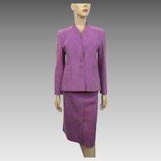 Lavender Ultrasuede Suit Skirt Jacket Vintage 1970s Gino Rossi For Wilson