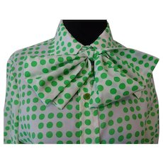 Bow Neck Blouse Vintage 1970s Green Polka Dot Rhodes Matching Scarf
