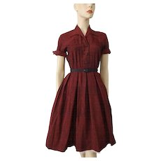 Womens Vintage 1950s Day Dress Red Shantung Fit and Flare