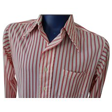 Mens Leisure Shirt Vintage 1970s Red White Sheer Nylon Stripes Damon Large Pointed Collar