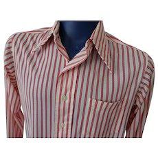 Mens Leisure Shirt Vintage 1970s Red White Sheer Nylon Stripes Damon Large Pointed Collar