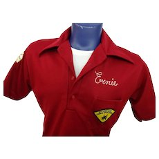 Mens Vintage 1970s Bowling Shirt Red Polyester Double Knit Hilton Tunic Patches