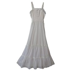 Vintage 1970s Bohemian Peasant Maxi Dress White Boho Wedding - Red Tag Sale Item