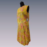 Vintage 1960s Yellow Floral Twin Set Blouse Pleated Skirt Dead Stock New With Tags