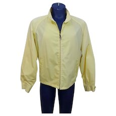 Mens Yellow Golf Jacket Vintage 1970s Peters Sportswear Zip Front Poly Cotton All Weather