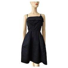 Black Cocktail Dress Vintage 1960s Silk Satin Party Prom LBD Mr. Mort