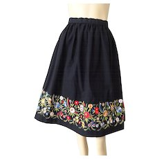 Bohemian Crewel Work Skirt Vintage 1970s Black Cotton Flower Floral