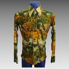Mens Leisure Shirt Vintage 1970s Graphic Print Club Wear Pointed Collar Monticello