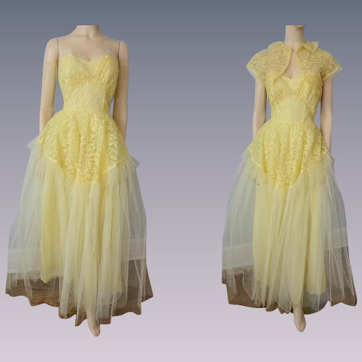 Vintage 1950s Strapless Formal Gown Dress Yellow Lace Bolero Jacket ...