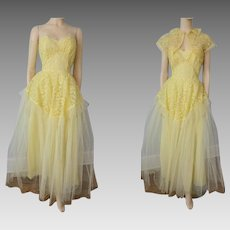 Vintage 1950s Strapless Formal Gown Dress Yellow Tulle Lace Bolero Jacket Princess Party Prom Wedding Crumb Catcher