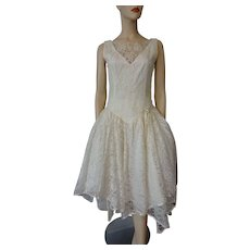 Vintage 1980s Sweetheart Dress Ivory Lace Wedding Bride Party Prom Special Occasion