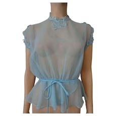 Sheer Nylon Blouse Powder Blue Vintage 1950s Peplum Lace Belt