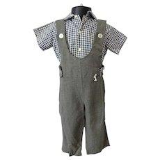 Boys Shirt Overalls Vintage 1950s Gingham Embroidered Dog Suit Set