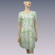 Polka Dot Cotton Wiggle Dress Vintage 1950s Green White