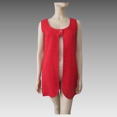 Mod Womens Red Linen Vest Vintage 1960s