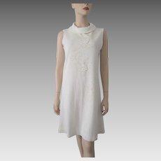 Sleeveless Beaded Knit Dress Vintage 1970s Beige Shift