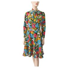 Bright Floral Dress Vintage 1970s Bow Neck Ruffle Skirt Polyester