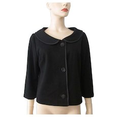 Vintage 1960s Black Womens Knit Jacket Mod Jackie O Large