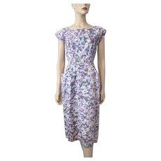 Lavender Floral Wiggle Dress Vintage 1940s Rayon Belt