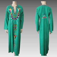 Green Boho Bohemian Dress Vintage 1970s Maxi Embroidered Crewel Work Ethnic Hippie