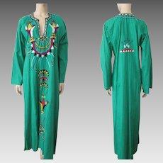 Green Boho Bohemian Dress Vintage 1970s Maxi Embroidered Crewel Work Ethnic Hippie