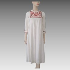 Bohemian Maxi Dress Vintage 1970s Muslin Embroidered Boho Hippie