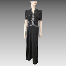 Black Crepe Rhinestone Dress Vintage 1940s Elegant Evening Gown
