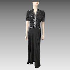 Black Crepe Rhinestone Dress Vintage 1940s Elegant Evening Gown