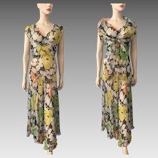 Sheer Floral Lingerie Dress Wrap Vest Vintage 1930s Maxi Bias Cut Set