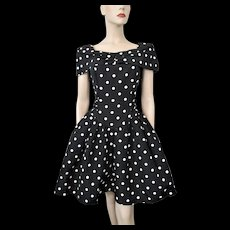 Polka Dot Party Prom Dress Vintage 1980s Short Shawl Collar Black White