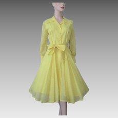 Yellow Polka Dot Swing Dress Vintage 1950s Sheer Poly Cotton Belt