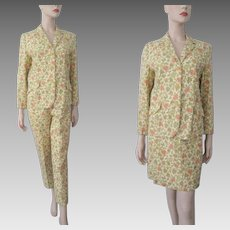 Yellow Floral Womens Suit Vintage 1970s Hovland Swanson Jacket Pants Wiggle Skirt