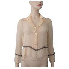 Sheer Nylon Blouse Vintage 1920s Beige White Pearl Buttons - Red Tag Sale Item