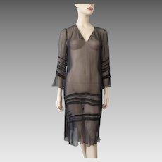 Sheer Black Flapper Dress Vintage 1920s Ruffles