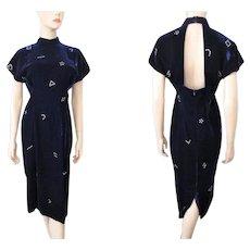 Velvet Rhinestone Wiggle Dress Vintage 1940s Bombshell Deep Purple Open Back - Red Tag Sale Item