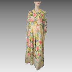Floral Garden Party Maxi Dress Vintage 1970s Yellow Chiffon Avalon