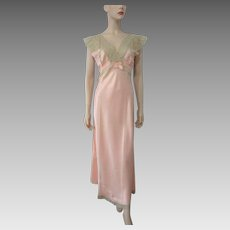 Vintage 1930s Negligee Lingerie Nightgown Peach Rayon Ecru Lace