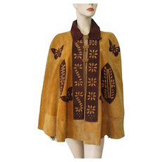 Suede Leather Hippie Poncho Vintage 1970s Camel Brown Butterfly Flower - Red Tag Sale Item