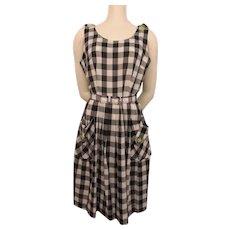 Gingham Sun Dress Vintage 1950s Black White Checked Cotton Sleeveless Belt