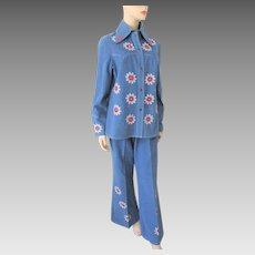 Denim Hippie Suit Jacket Bell Bottom Pants Vintage 1960s Embroidered Daisies Boho