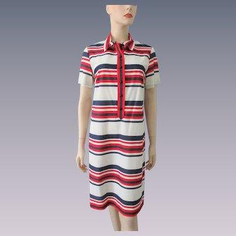 Patriotic Striped Shirt Dress Vintage 1970s RWB Stripes Nautical