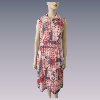 Sleeveless Summer Dress Vintage 1970s Red White Blue Paisley