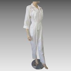 Vintage 1980s Jumpsuit White Cotton Zipper Details